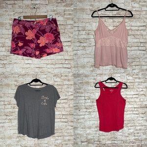Loft linen floral shorts tank tops lot sz M 8 pink